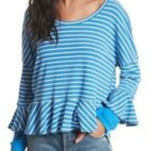 4/$30 Free People Oversized striped top size M